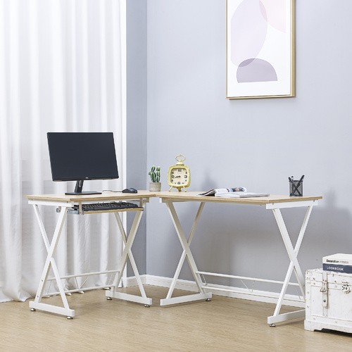 Cosmoliving 150cm L-Shape Computer Desk Corner Desk  (Oak & White)