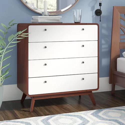 Cassie 4 Drawer Chest with Rounded Corner   (Mango Oak & White )