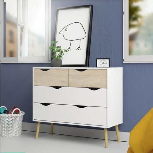 Cosmoliving W98 x H81cm Mid century Dresser 2+2 Chest of Drawers