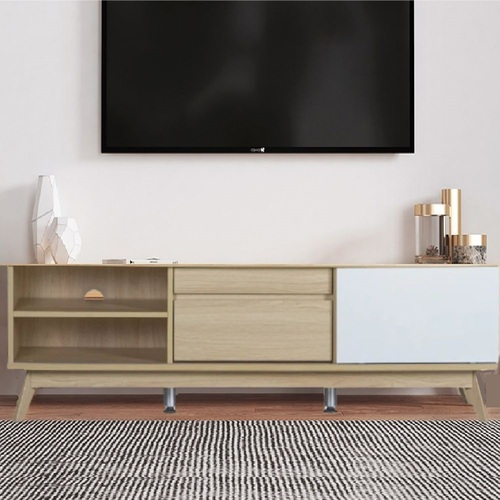 Cosmoliving 144cm Sliding Door TV Entertainment Unit W/Shelves