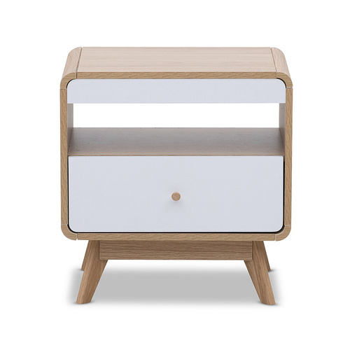 Cosmoliving Lamp Table  (Light Oak & White Drawer front & Legs)