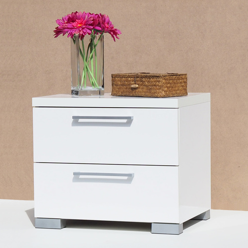 Alexia White Gloss 2 Drawer Bedside Table Nightstand (White High Gloss)