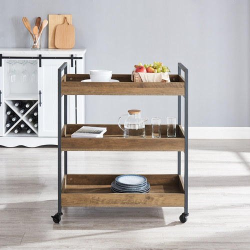 Cosmoliving 3 Level Industrial Serving Cart with Castors Two End Handles