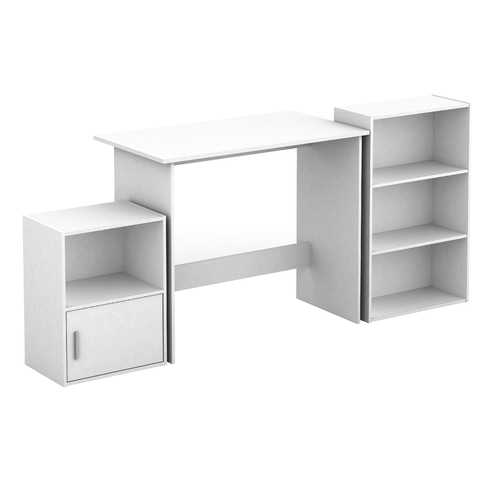 Cosmoliving Desk Storage Cabinet Bookcase Home Office Set  (White )